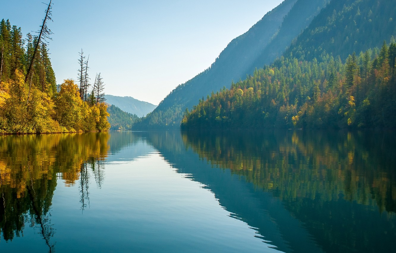 Photo wallpaper autumn, forest, mountains, lake, reflection, Canada, Canada, British Columbia, British Columbia, lake Eco, Monashee Mountains, …