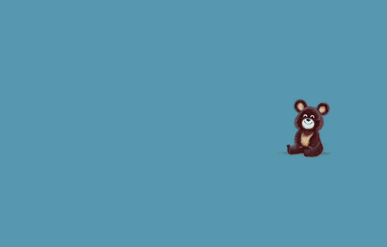 Photo wallpaper animal, minimalism, bear, bear, blue background, Olympics 1980