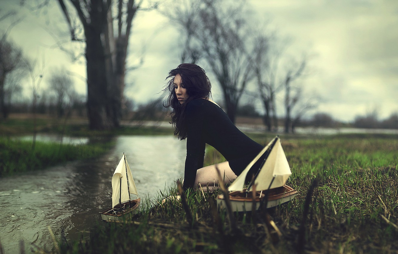 Photo wallpaper girl, river, boats