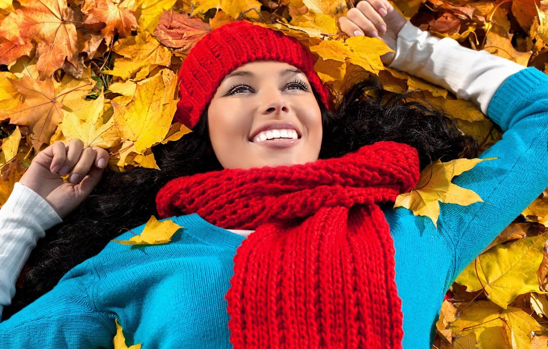 Photo wallpaper autumn, leaves, Girls, woman, smile, autumn, leaves