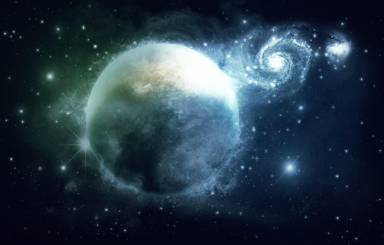 Photo wallpaper space, planet, art, galaxy