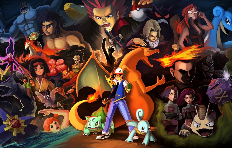 Photo wallpaper game, Misty, anime, James, Nintendo, dragon, asian, Pokemon, pokeball, manga, japanese, Pikachu, kimono, oriental, asiatic, …