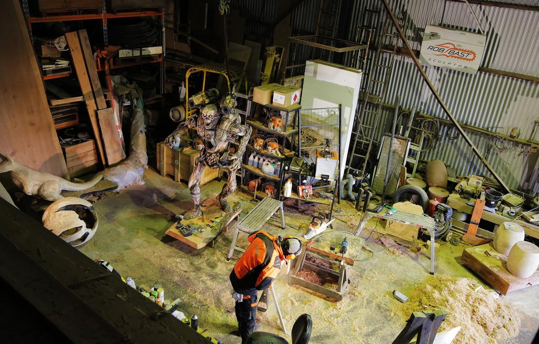 Photo wallpaper wood, artist, creature, tools, sculpture, workshop, DOOM, chainsaws