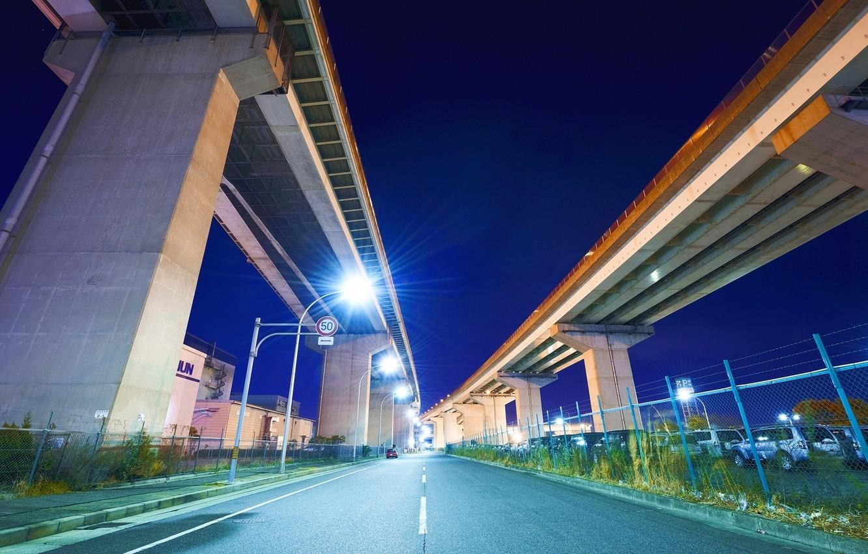 Photo wallpaper road, machine, night, Japan, lights, bridges, japan, Nagoya
