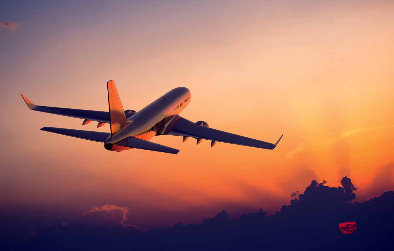 Photo wallpaper Sunset, The sky, The plane, In The Air, Flies, Airliner