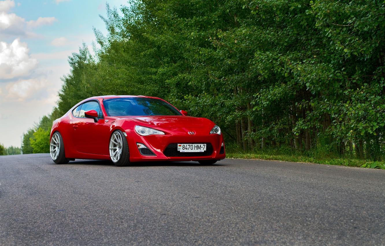 Photo wallpaper Red, Car, Sport, Summer, Road, FR-S, Scion