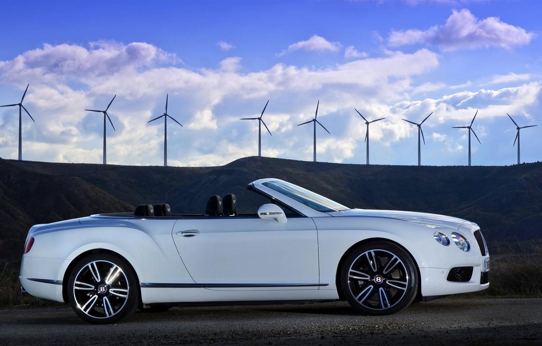 Photo wallpaper Auto, Bentley, Continental, White, Wheel, Bentley, GTC, Side view
