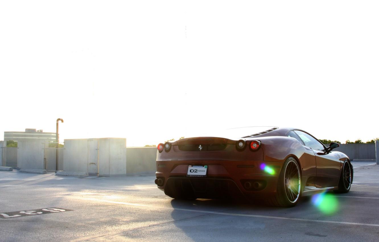 Photo wallpaper Parking, red, ferrari, Ferrari, Blik, rear view, f430, parking, F430, dark red