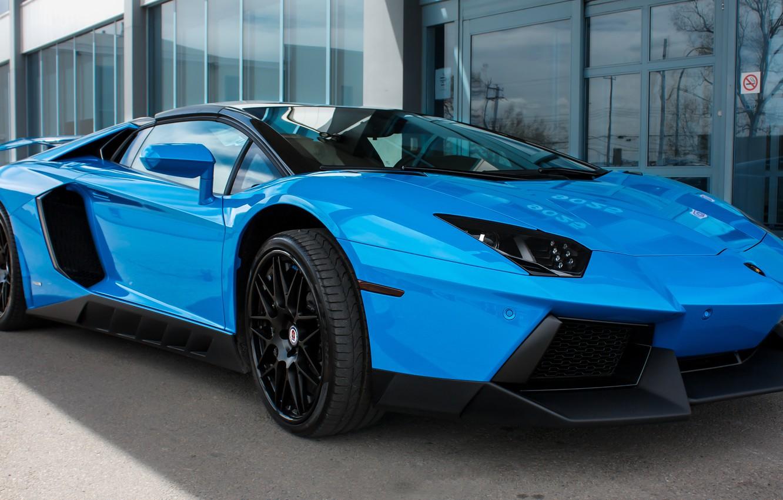 Photo wallpaper Lamborghini, Blue, Aventador, Novitec, Torado