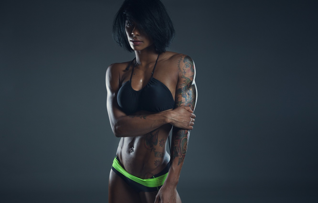 Photo wallpaper sexy, model, brunette, tattoos, fitness, sporty, model clothes