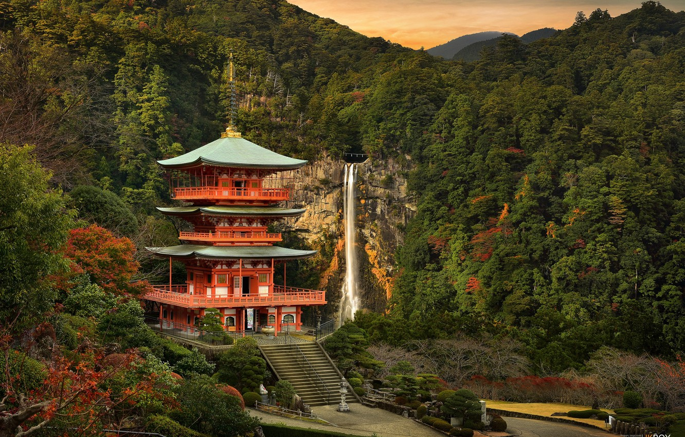 Photo wallpaper forest, mountains, waterfall, Japan, temple