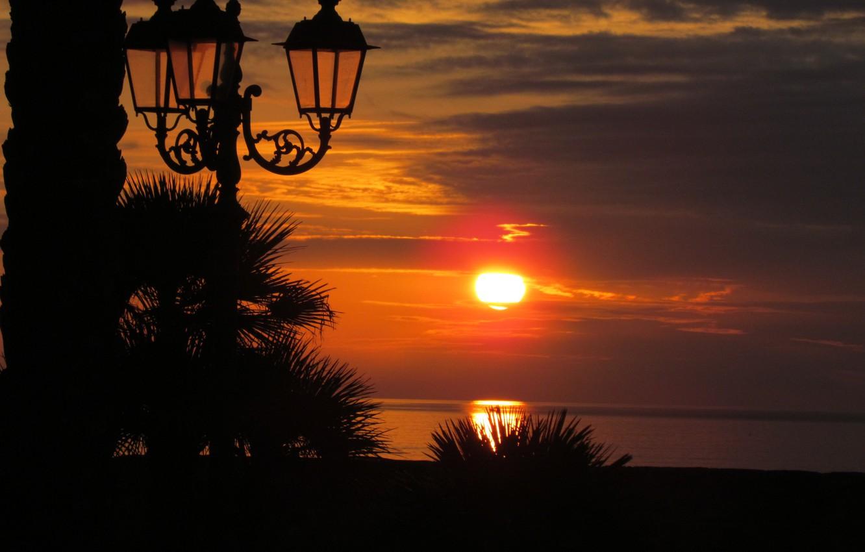 Photo wallpaper sea, landscape, sunset, lights