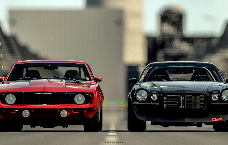 Photo wallpaper red, black, Chevrolet Camaro, chevrolet camaro