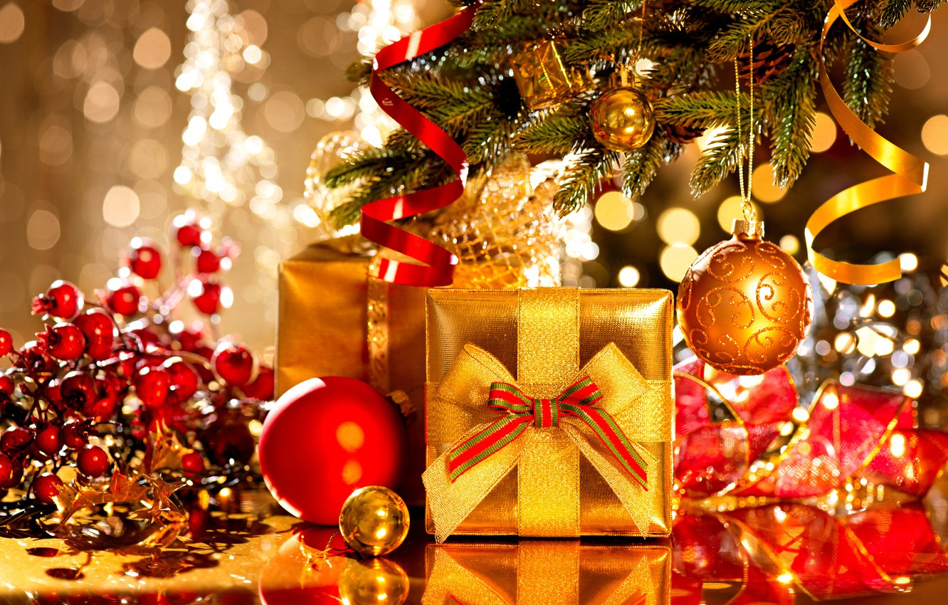 Photo wallpaper New Year, Branches, Balls, Holiday, Gifts