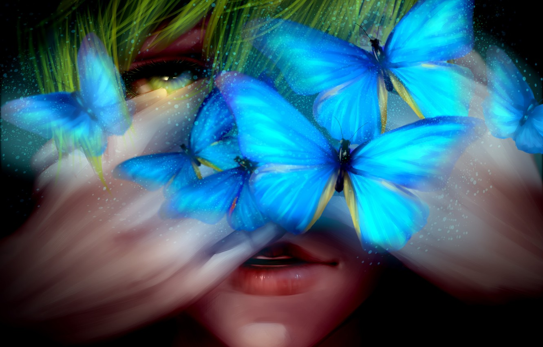 Photo wallpaper butterfly, art, male, Free, Freedom, crow.w.w, Tachibana Makoto, Tachibana Makoto