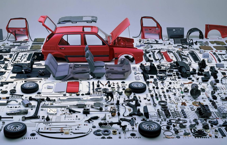 Photo wallpaper spare parts, designer build your German, Analysis