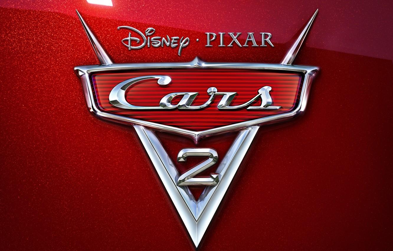 Photo wallpaper cartoon, pixar, emblem, chrome, disney, cars 2, cars 2, red mother of pearl