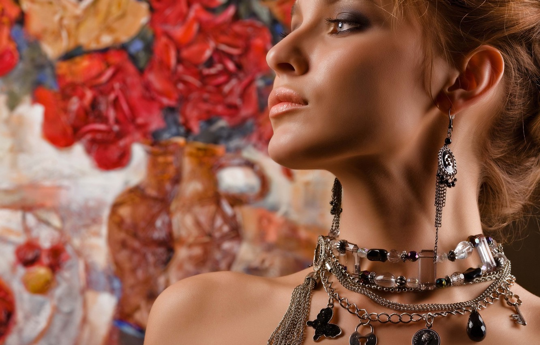 Photo wallpaper girl, earrings, necklace, makeup