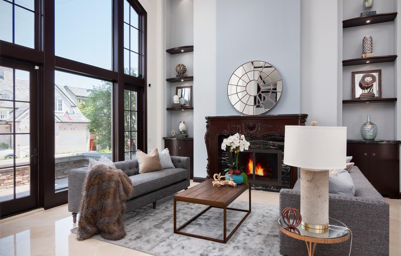Photo wallpaper design, sofa, mirror, window, fireplace, table, living room, decor, shelves