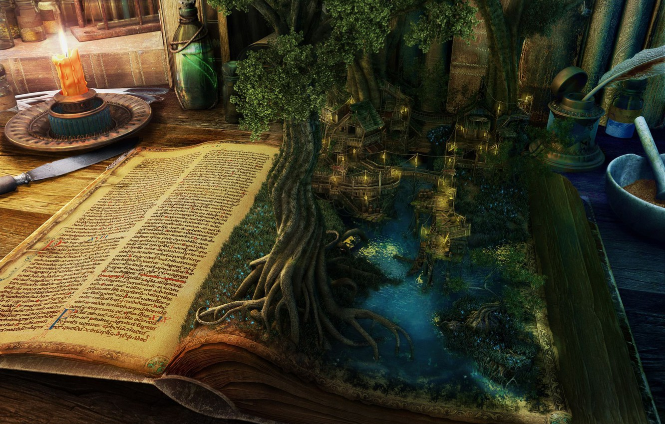 Photo wallpaper water, landscape, table, tree, magic, home, candle, knife, book