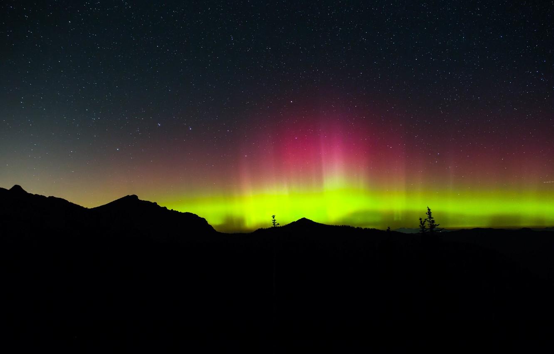 Photo wallpaper stars, night, Northern lights, horizon