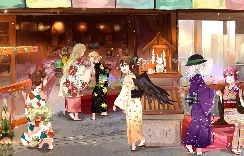 Photo wallpaper anime, art, girl, shop, kimono, shop