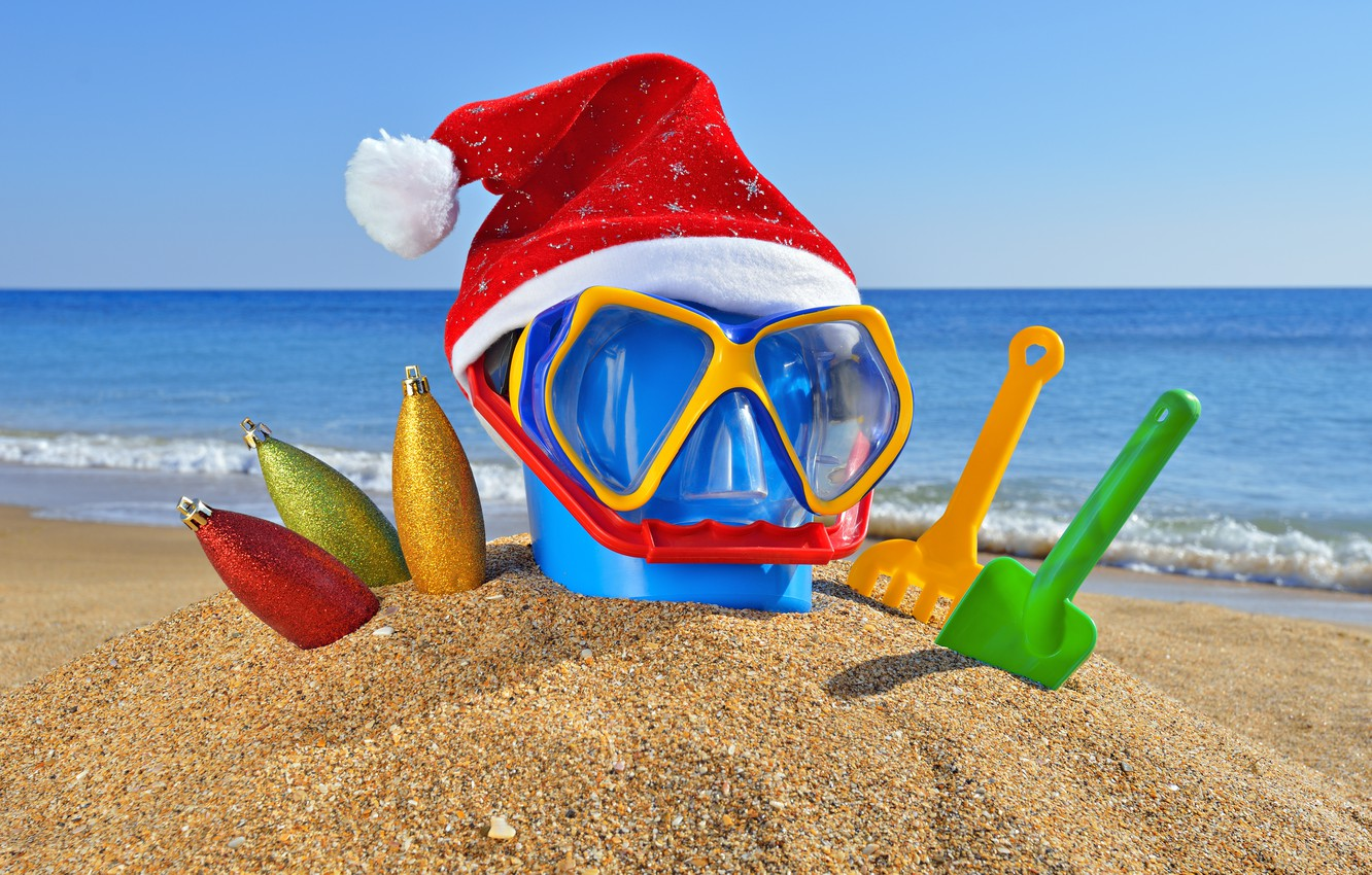 Photo wallpaper sand, sea, beach, the ocean, holiday, toys, new year, Christmas, glasses, bucket, christmas, new year, …