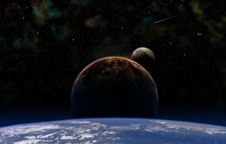 Photo wallpaper earth, stars, cosmos