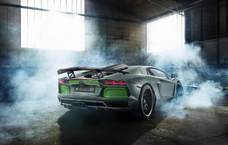 Photo wallpaper Lamborghini, Green, Smoke, LP700-4, Aventador, 2014, Limited, Rear, HAMANN