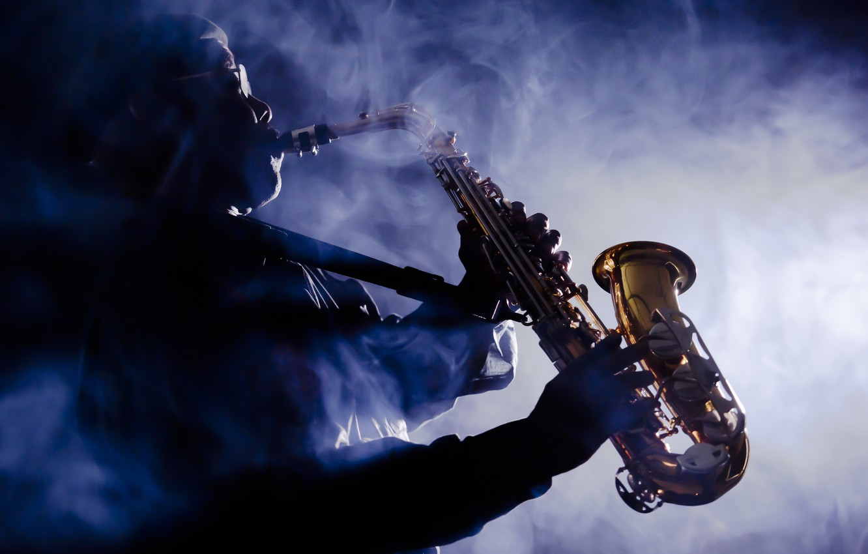 Photo wallpaper smoke, musician, saxophone