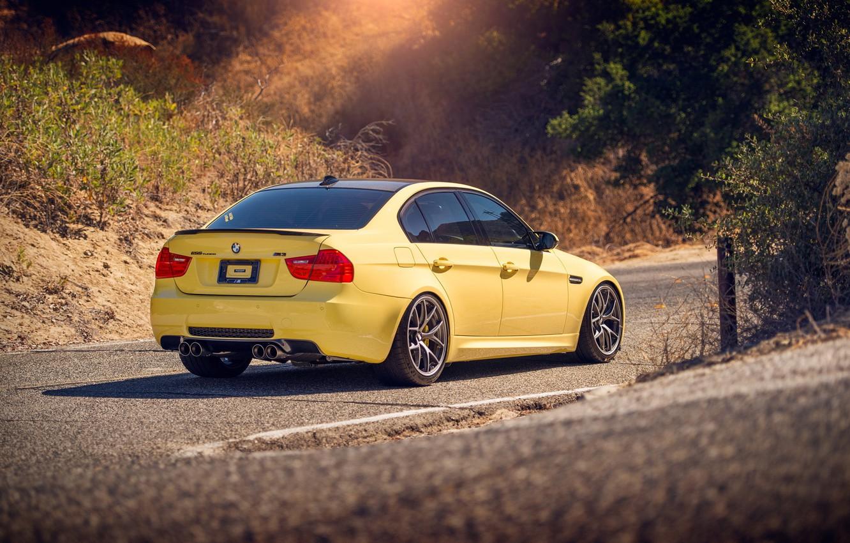 Photo wallpaper road, BMW, yellow, BMW M3
