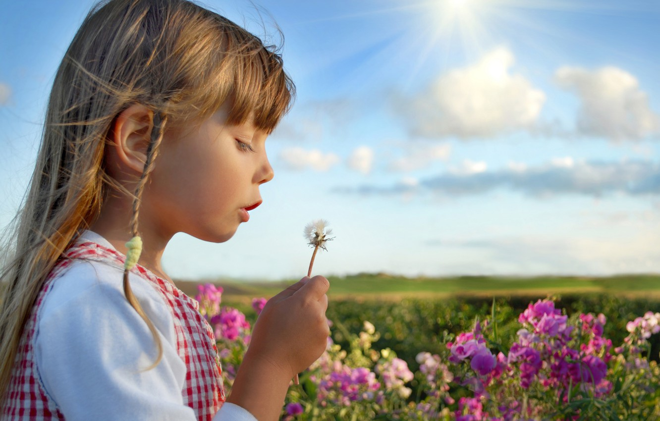 Photo wallpaper summer, the sky, clouds, flowers, nature, children, childhood, girls, child, roses, summer, happy, sky, nature, …