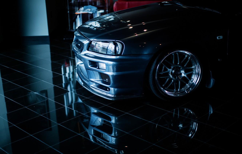 Photo wallpaper reflection, tuning, Nissan, nissan skyline, r34
