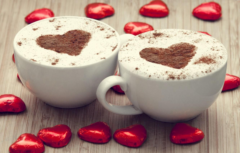 Photo wallpaper red, background, widescreen, Wallpaper, mood, heart, figure, coffee, chocolate, mug, Cup, wallpaper, mugs, heart, cappuccino, …