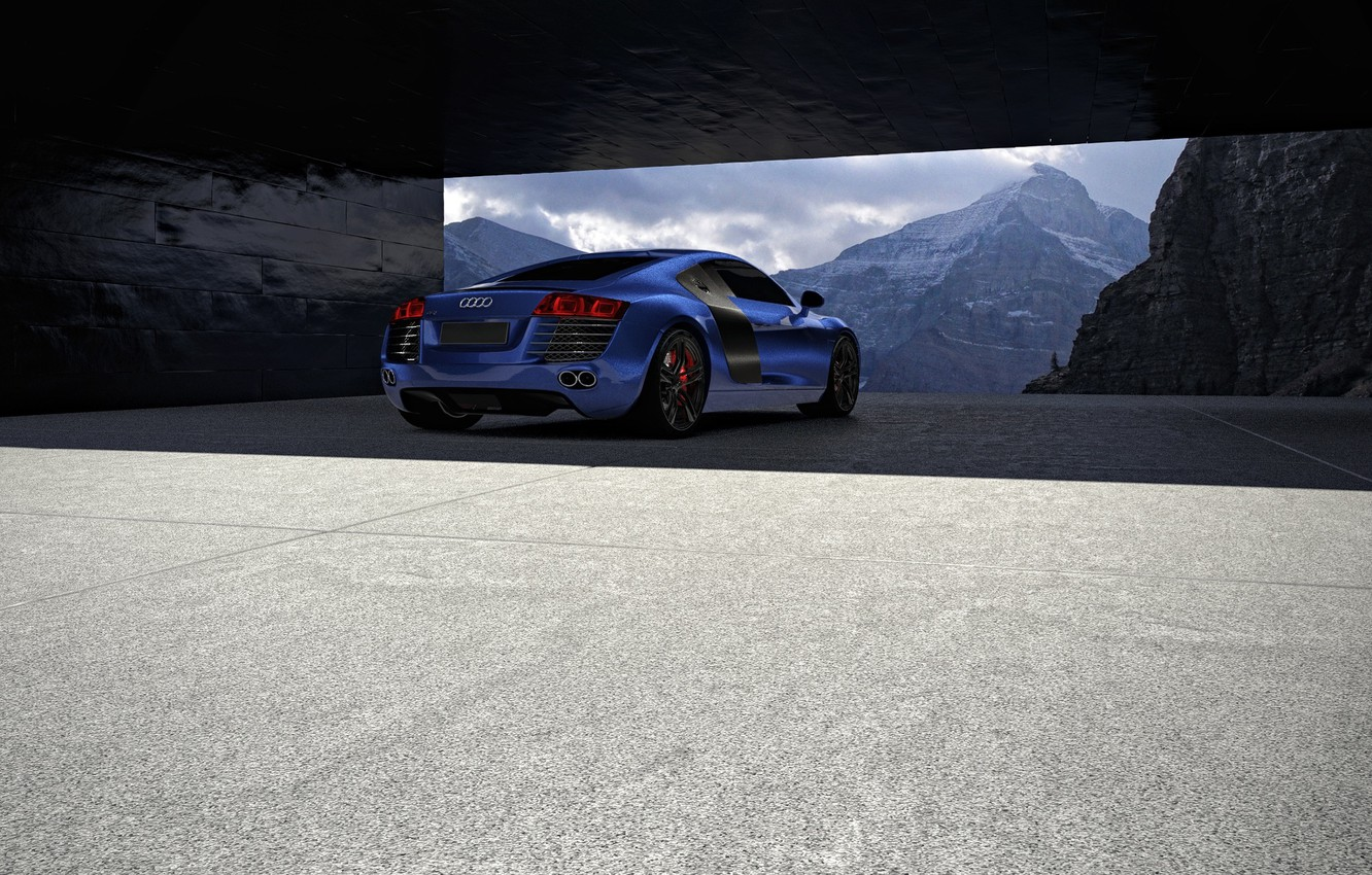 Photo wallpaper Audi, Blue, Winter, Mountains, Supercar, Rear, Architecture