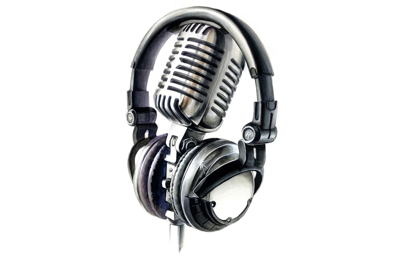Photo wallpaper headphones, white background, microphone