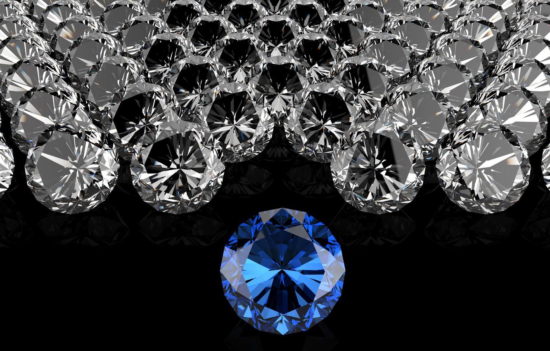 Photo wallpaper PEBBLES, DIAMONDS, THE DARK BACKGROUND, BLUE DIAMOND