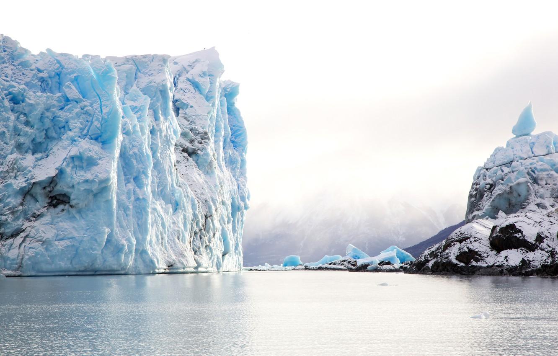 Photo wallpaper ice, snow, stones, the ocean, shore, iceberg, Argentina, Patagonia