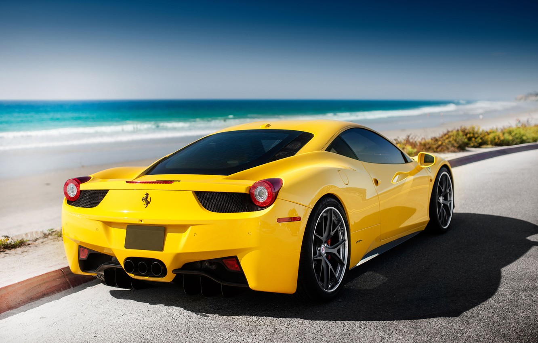 Photo wallpaper Ferrari, 458, sea, yellow, tuning, Italia