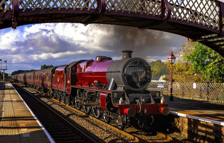 Photo wallpaper the way, smoke, train, the engine, cars, railroad