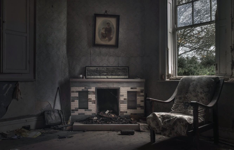 Photo wallpaper chair, window, fireplace