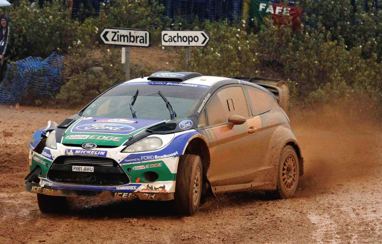 Photo wallpaper Ford, Auto, Sport, Machine, Rain, Ford, Race, Dirt, WRC, Rally, Fiesta, The front, Overcast