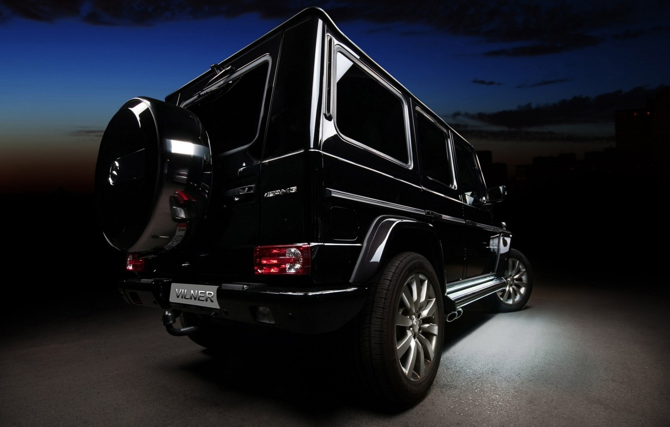 Photo wallpaper black, tuning, Mercedes-Benz, jeep, SUV, Mercedes, rear view, tuning, amg, g, AMG, G-Class, vilner studio, …