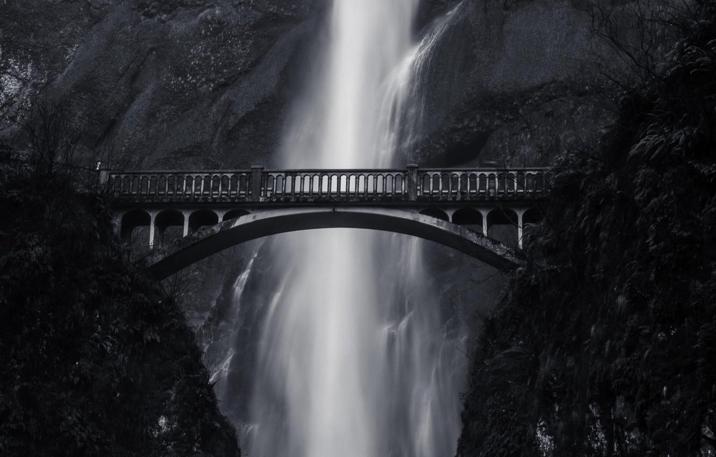 Photo wallpaper bridge, height, mountain, waterfall, black and white photo