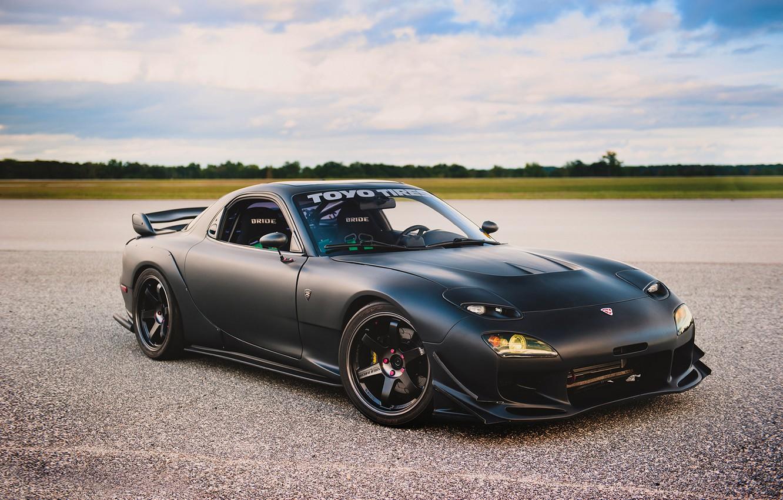Photo wallpaper car, tuning, black, tuning, Mazda, rechange, matte, Mazda RX-7