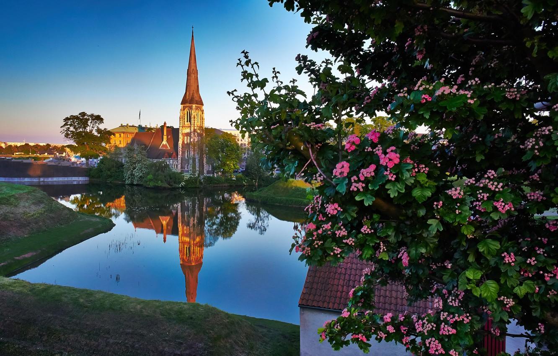 Photo wallpaper landscape, reflection, river, tree, Denmark, Church, Denmark, Copenhagen, Copenhagen, St Alban's Church