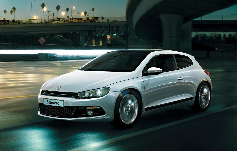 Photo wallpaper Road, The city, White, Machine, Movement, City, Car, Car, White, Volkswagen, Road, Sirocco, Volkswagen Scirocco