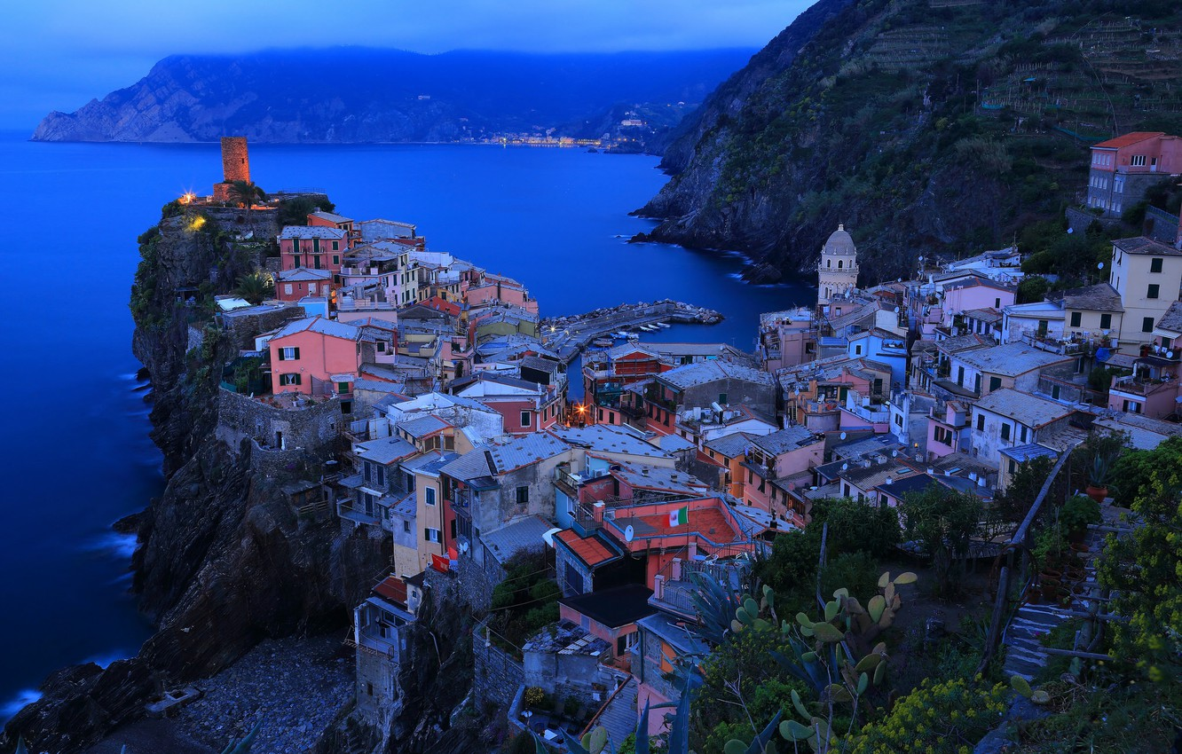 Photo wallpaper sea, night, the city, lights, rocks, home, Italy