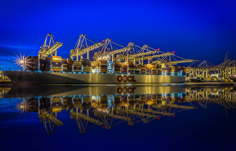 Photo wallpaper lights, crane, port, Netherlands, a container ship, Rotterdam