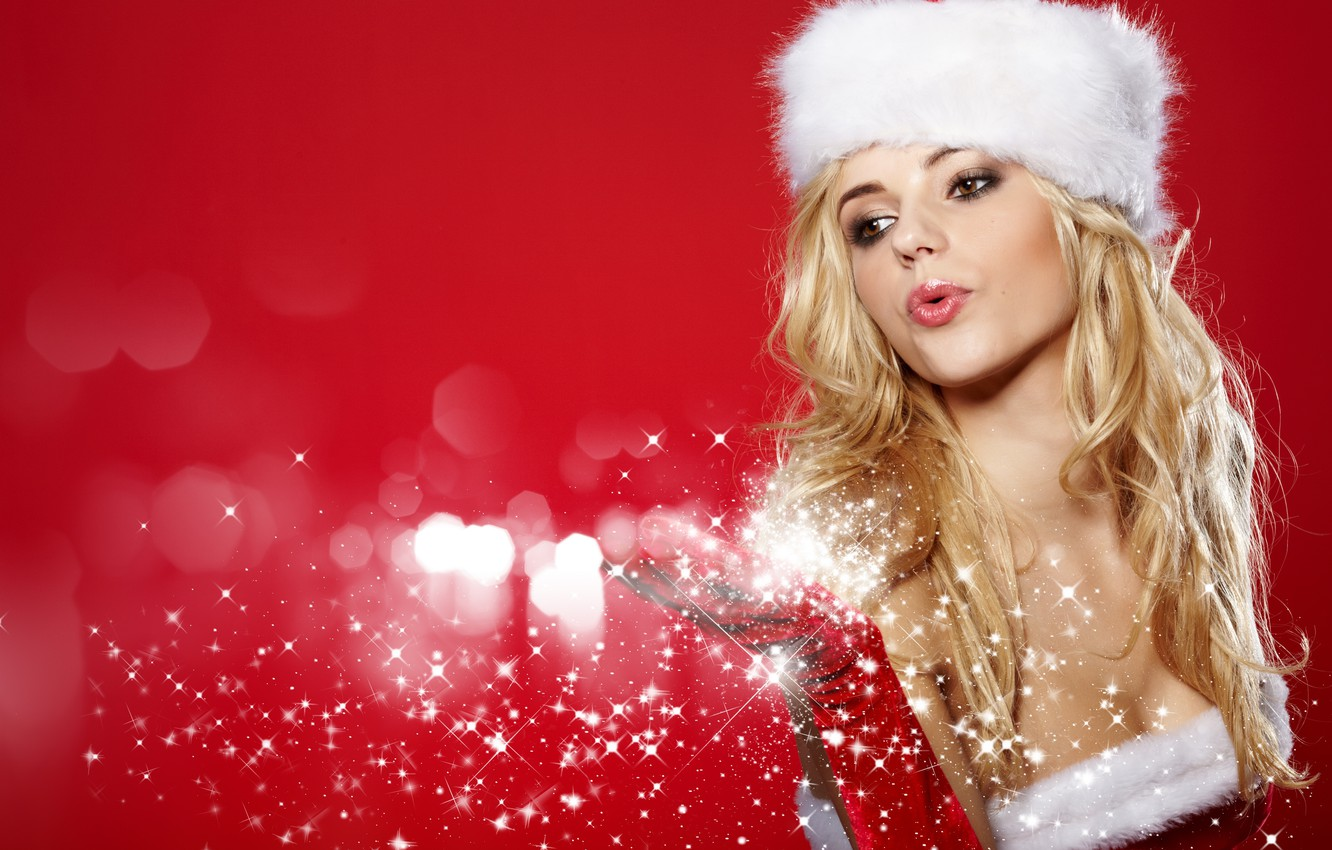 Photo wallpaper girl, snowflakes, hat, hand, New Year, blonde, maiden, glove, red background, brown-eyed